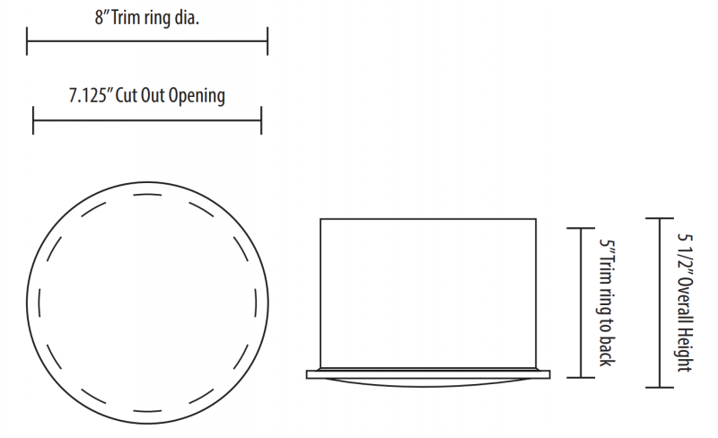 SP 628 Ceiling Speaker Installation Dimensions