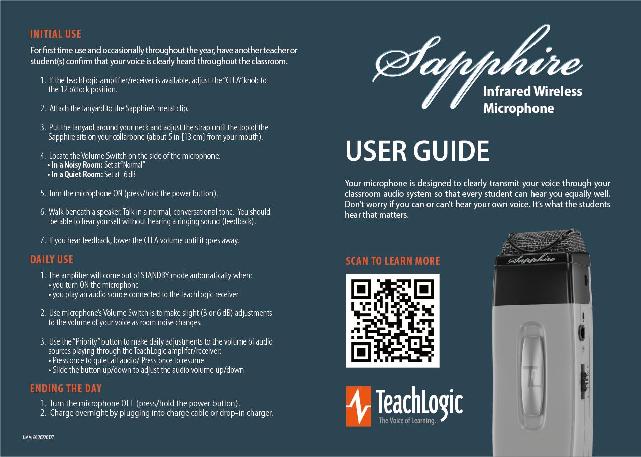 sapphire teacher microphone guide